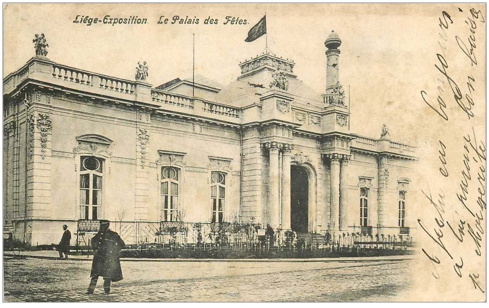 carte postale ancienne LIEGE. Palais des Fêtes 1914
