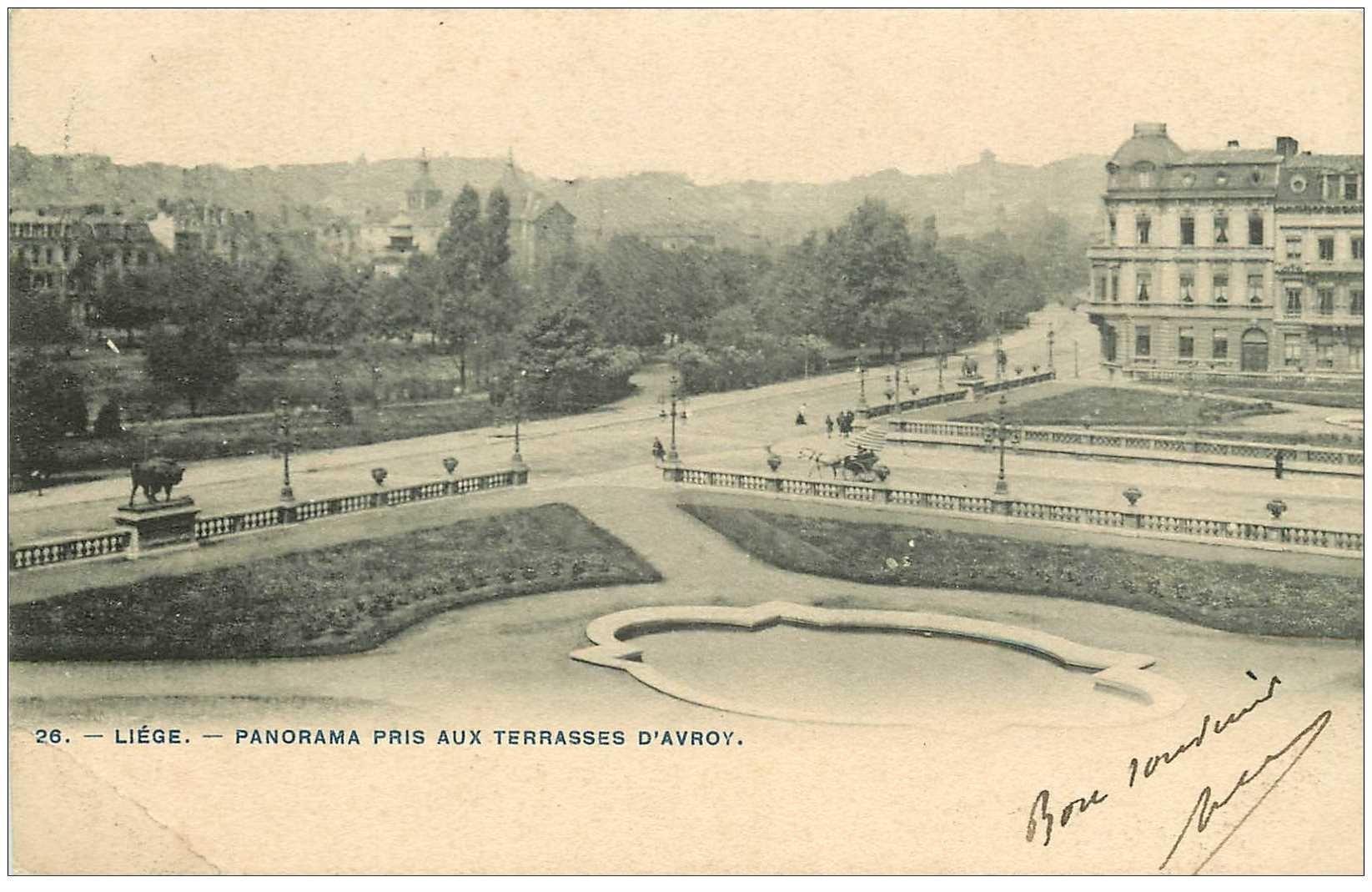carte postale ancienne LIEGE. Panorama Terrasses d'Avroy 1905 pli coin gauche