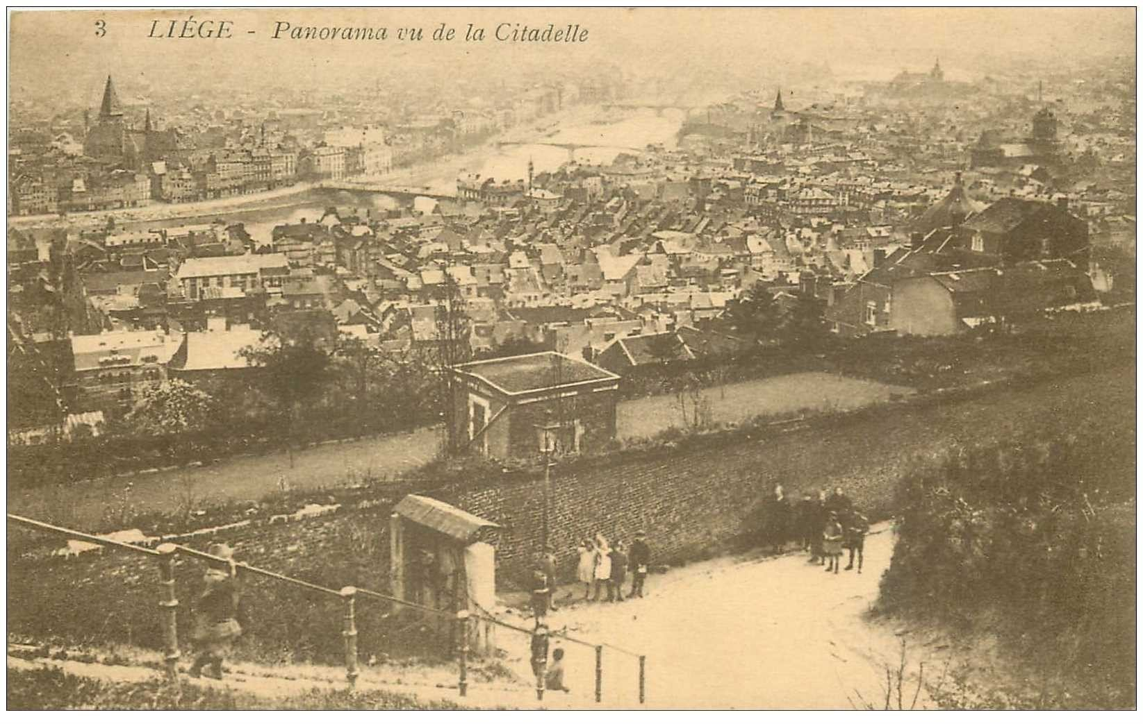 carte postale ancienne LIEGE. Panorama. Timbre manquant