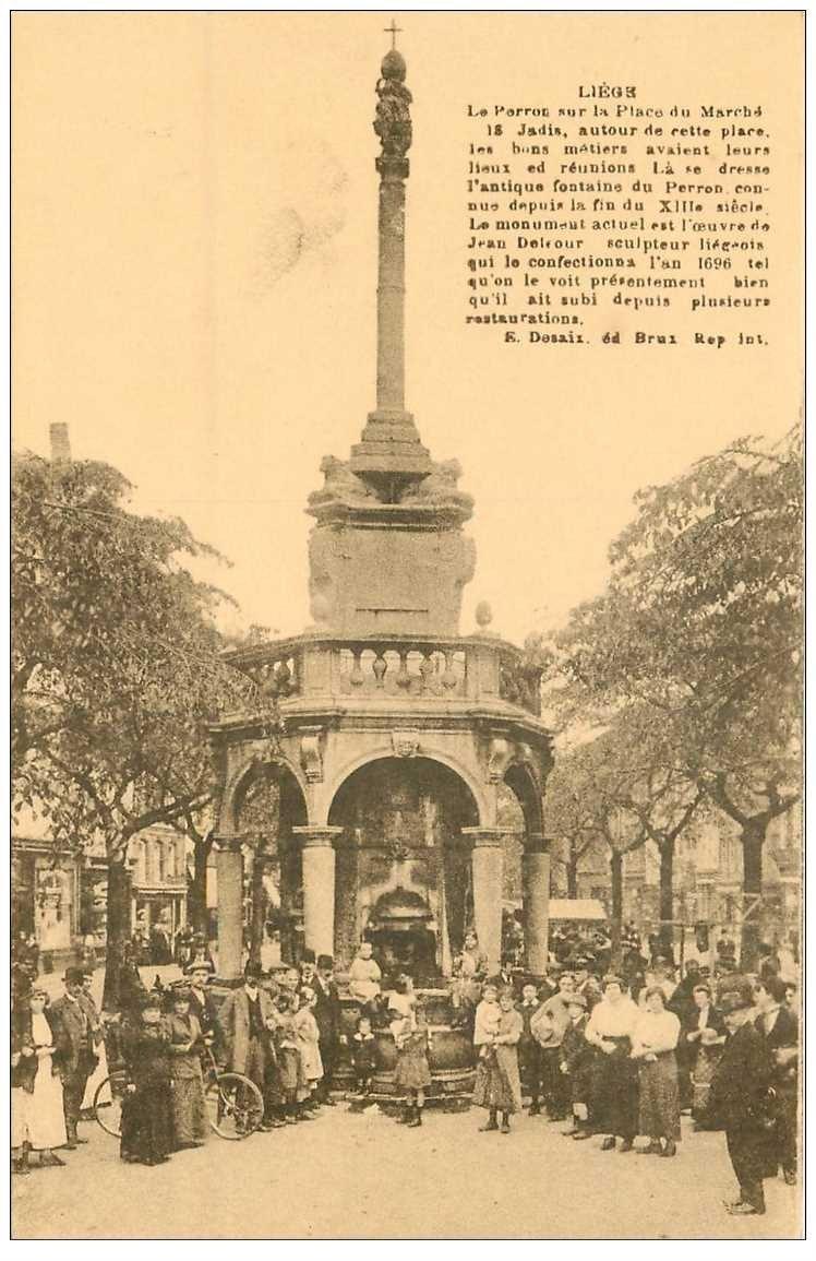 carte postale ancienne LIEGE. Place du Marché Le Perron