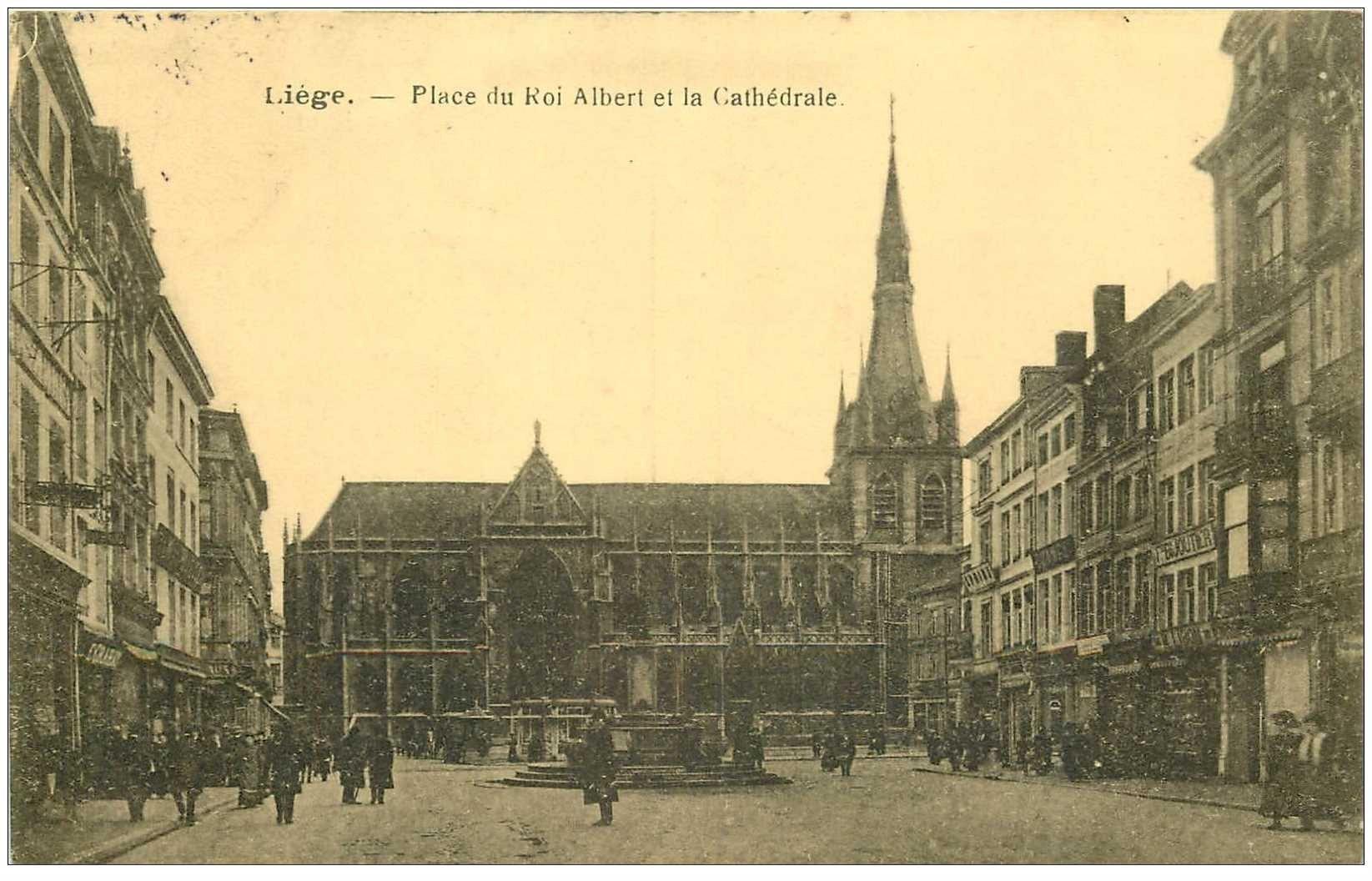 carte postale ancienne LIEGE. Place du Roi Albert et Cathédrale