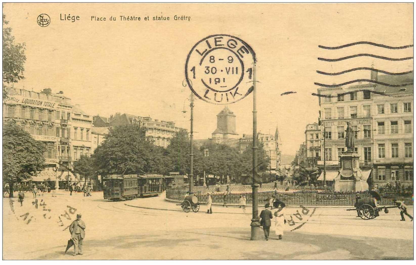carte postale ancienne LIEGE. Place du Thétre Statue Grétry 1919 Tramway