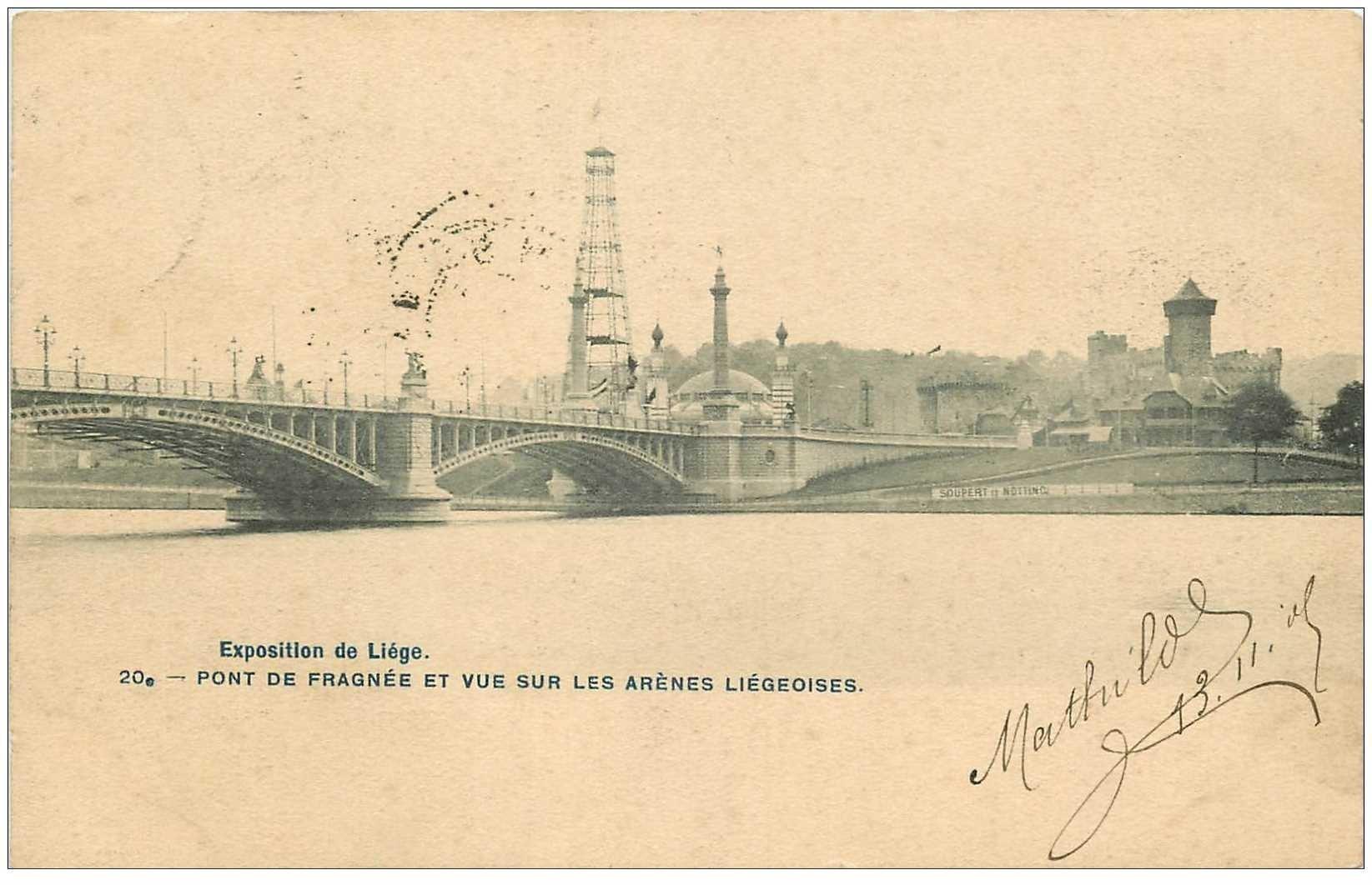 carte postale ancienne LIEGE. Pont de Fragnée et Arènes Liégeoises 1905