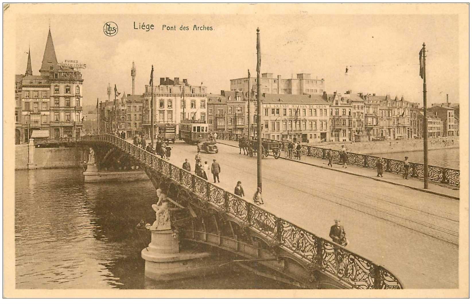 carte postale ancienne LIEGE. Pont des Arches