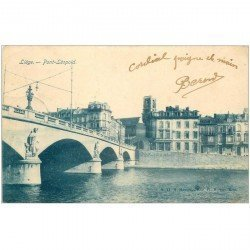 carte postale ancienne LIEGE. Pont Léopold 1905