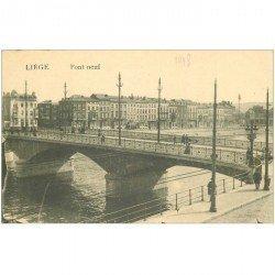carte postale ancienne LIEGE. Pont Neuf animé