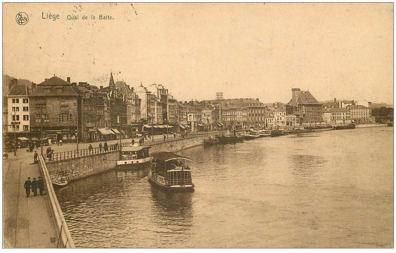 carte postale ancienne LIEGE. Quai de la Batte 1930
