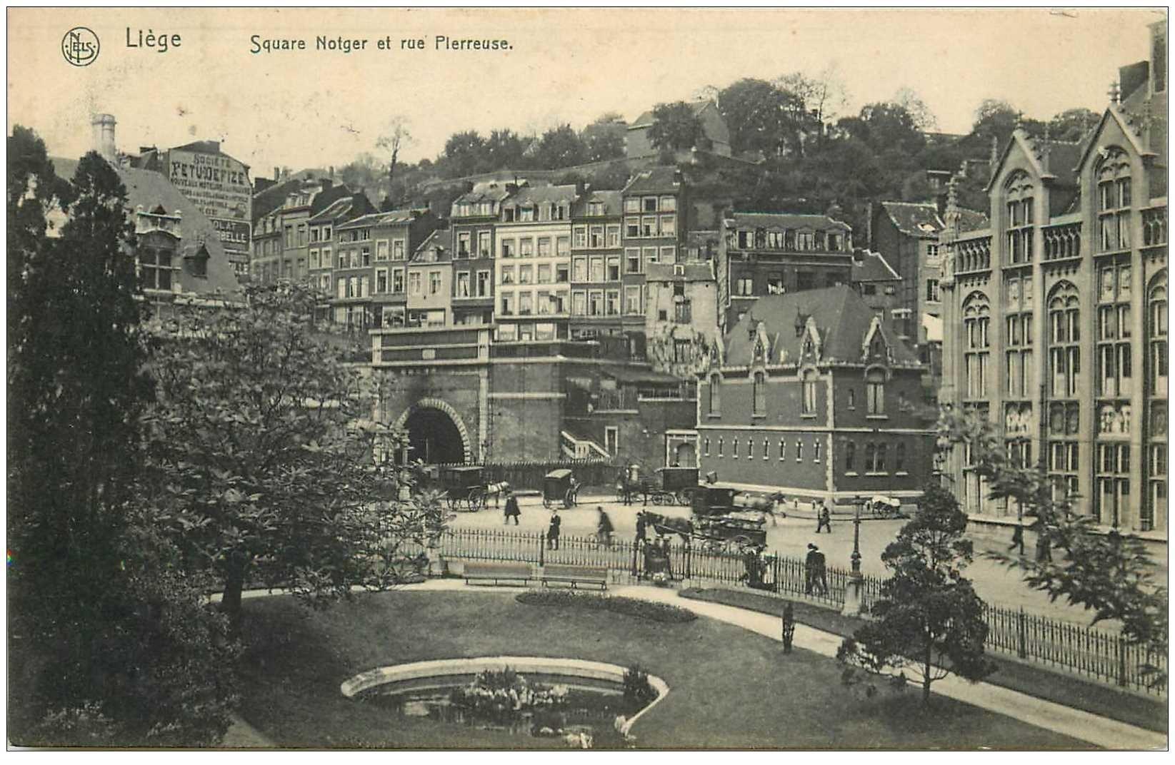 carte postale ancienne LIEGE. Square Notger et rue Pierreuse 1908