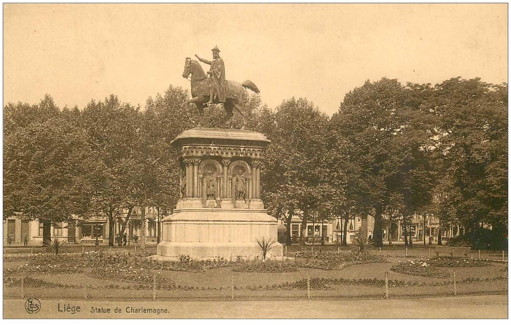 carte postale ancienne LIEGE. Statue de Charlemagne