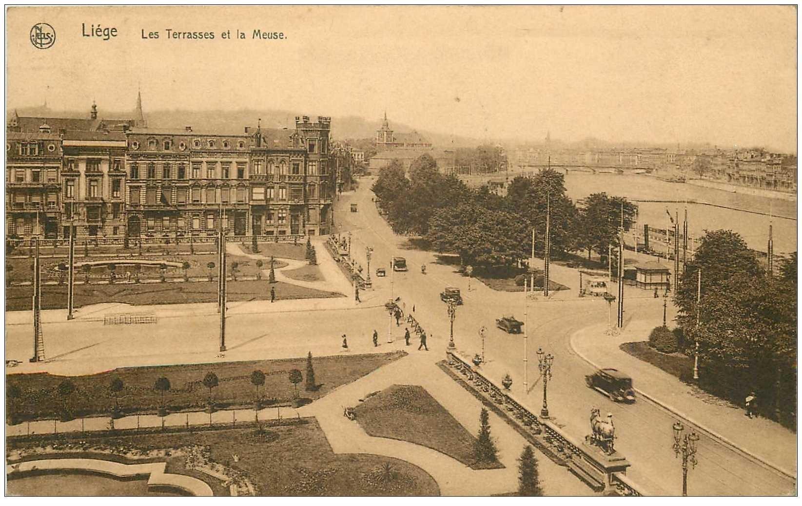 carte postale ancienne LIEGE. Terrasses et la Meuse 1934