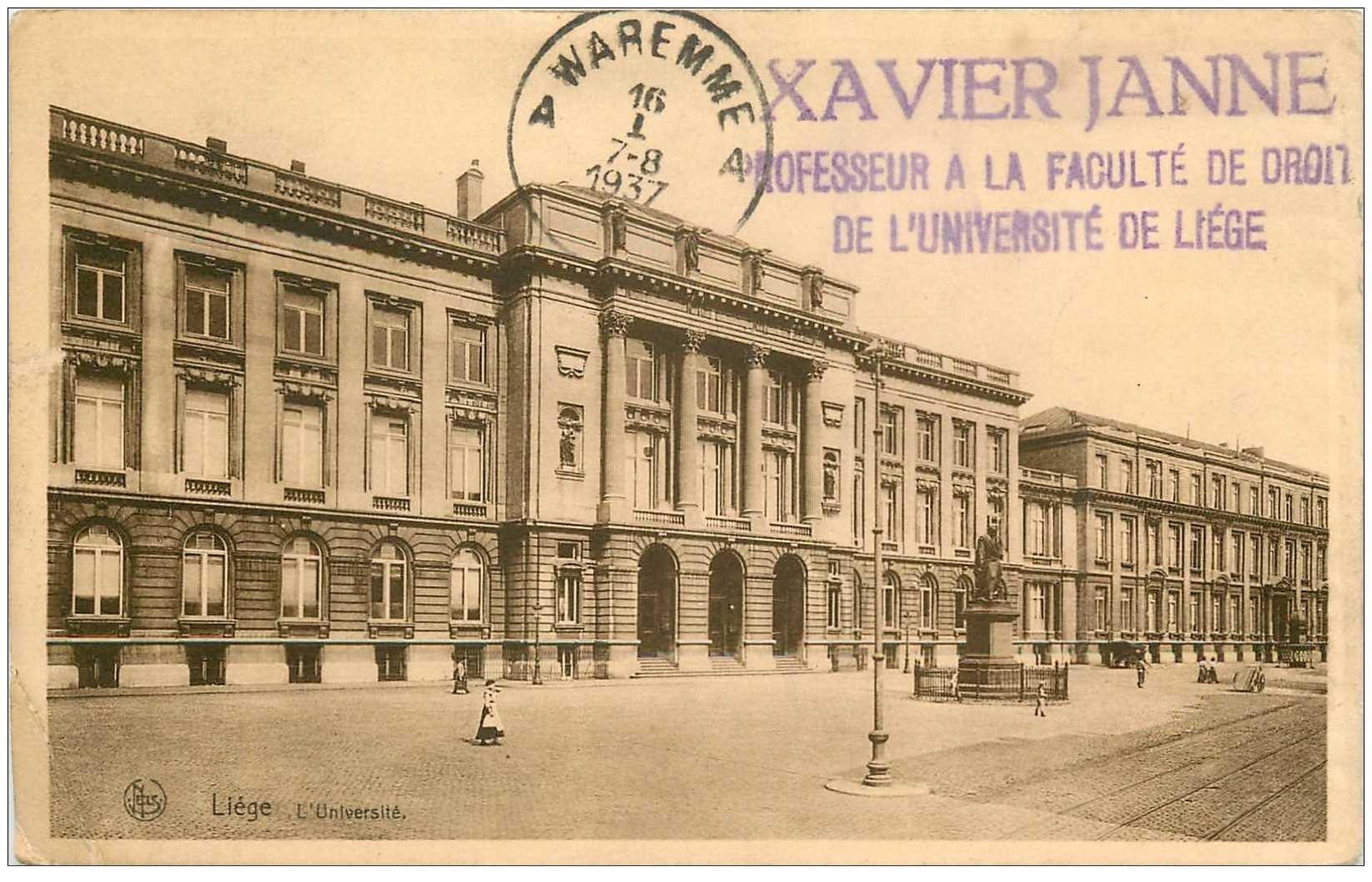 carte postale ancienne LIEGE. Université 1937 tampon Janne Professeur de Droit