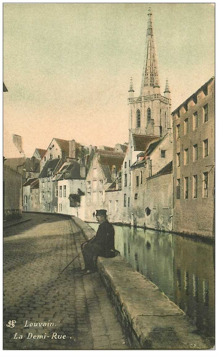 carte postale ancienne LOUVAIN LEUVEN. La Demi Rue 1907