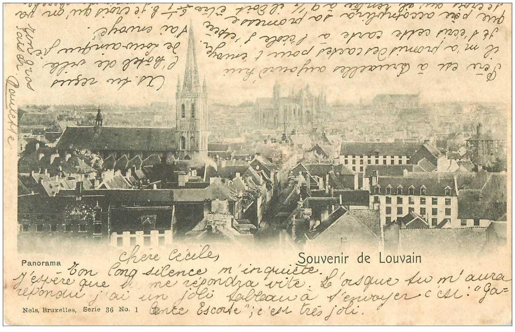 carte postale ancienne LOUVAIN LEUVEN. Panorama 1901
