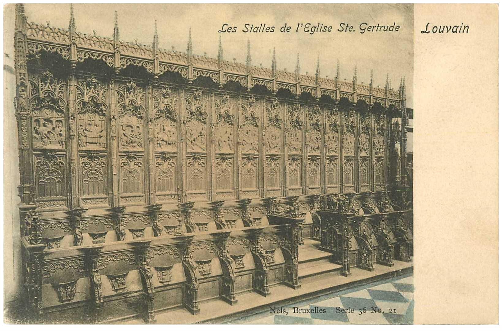 carte postale ancienne LOUVAIN LEUVEN. Stalles Eglise Sainte Gertrude