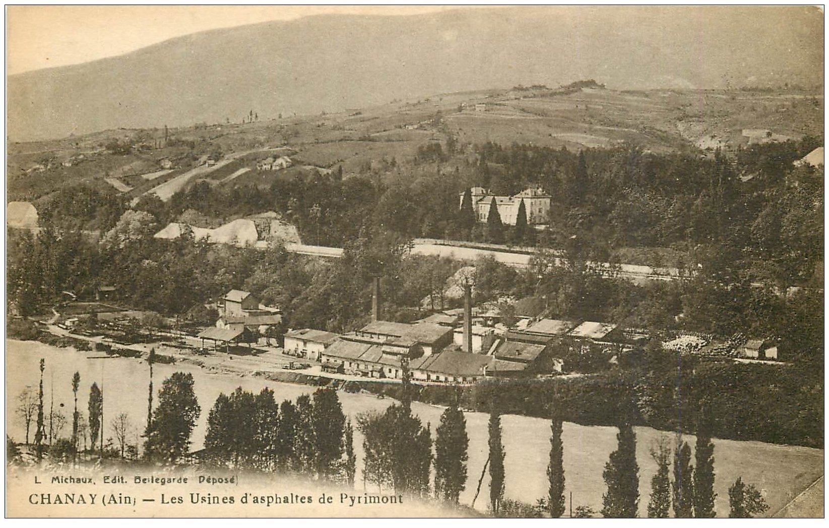 carte postale ancienne 01 Chanay. Usines d'Asphaltes de Pyrimont