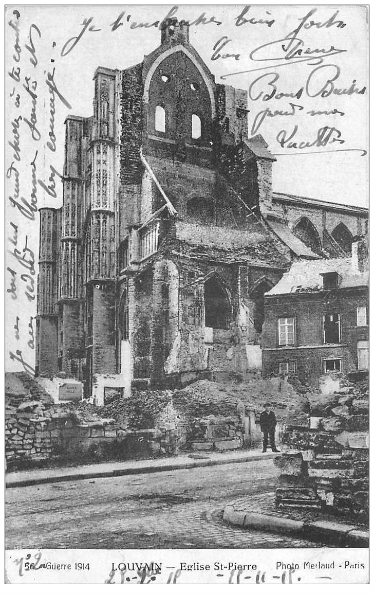 carte postale ancienne LOUVAIN. Eglise Saint Pierre 1915