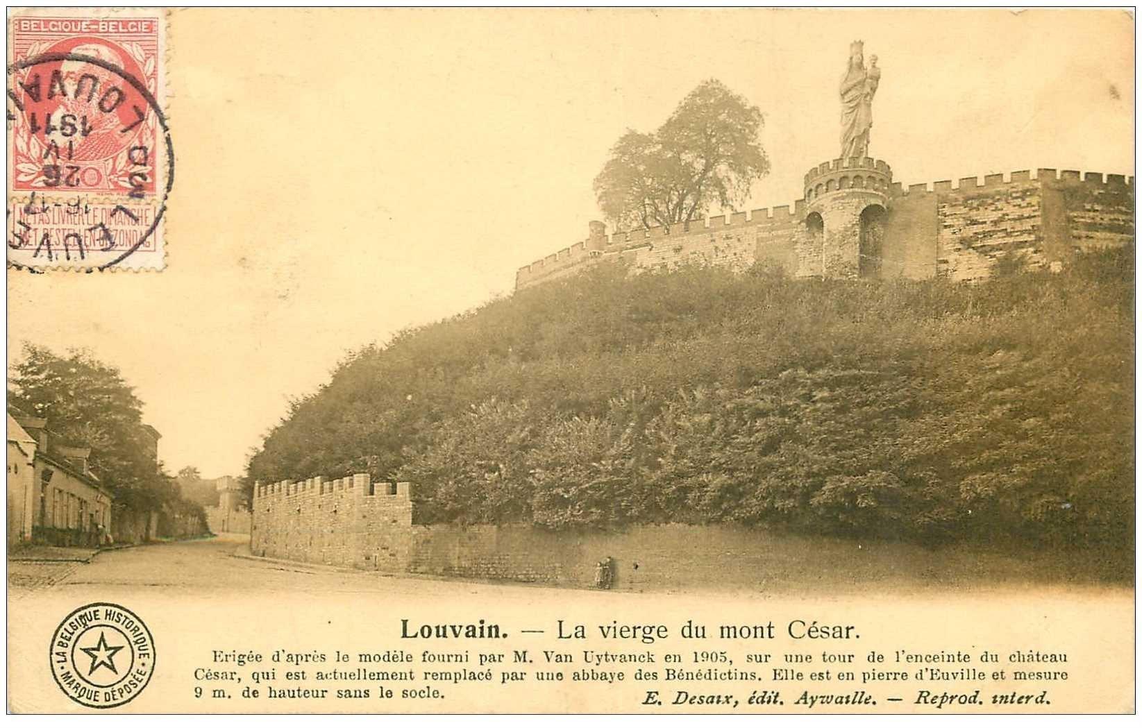 carte postale ancienne LOUVAIN. Vierge du Mont César 1911