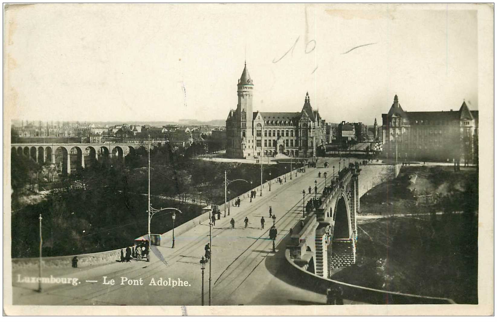 carte postale ancienne LUXEMBOURG. Le Pont Adolphe 1934 carte photo