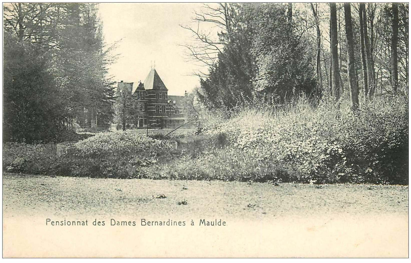 carte postale ancienne MAULDE. Pensionnat Dames Bernardines. Timbre taxe 1906