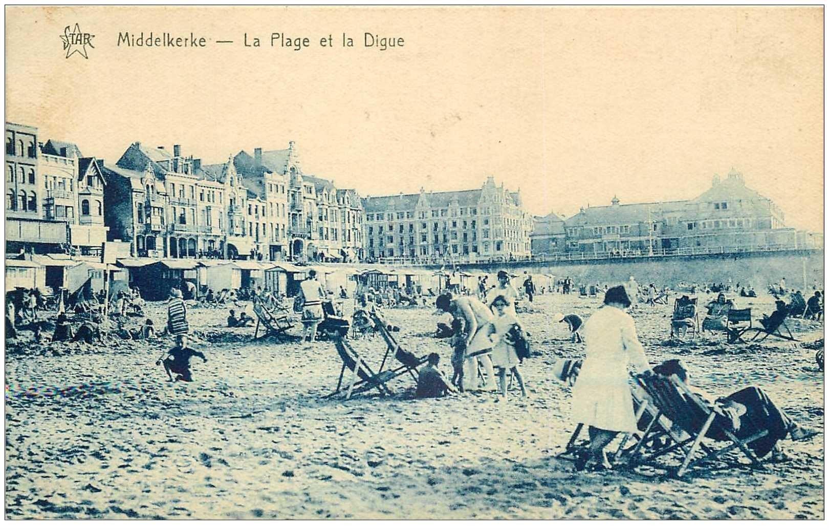 carte postale ancienne MIDDELKERKE. Plage et Digue