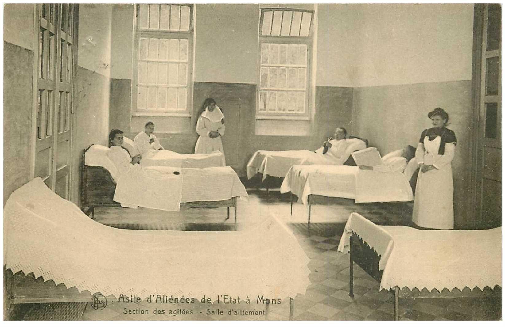 carte postale ancienne MONS. Asile d'Aliénés de l'Etat 1923 section des agités