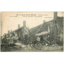 carte postale ancienne NIEUPORT. Rue Ostende bombardée