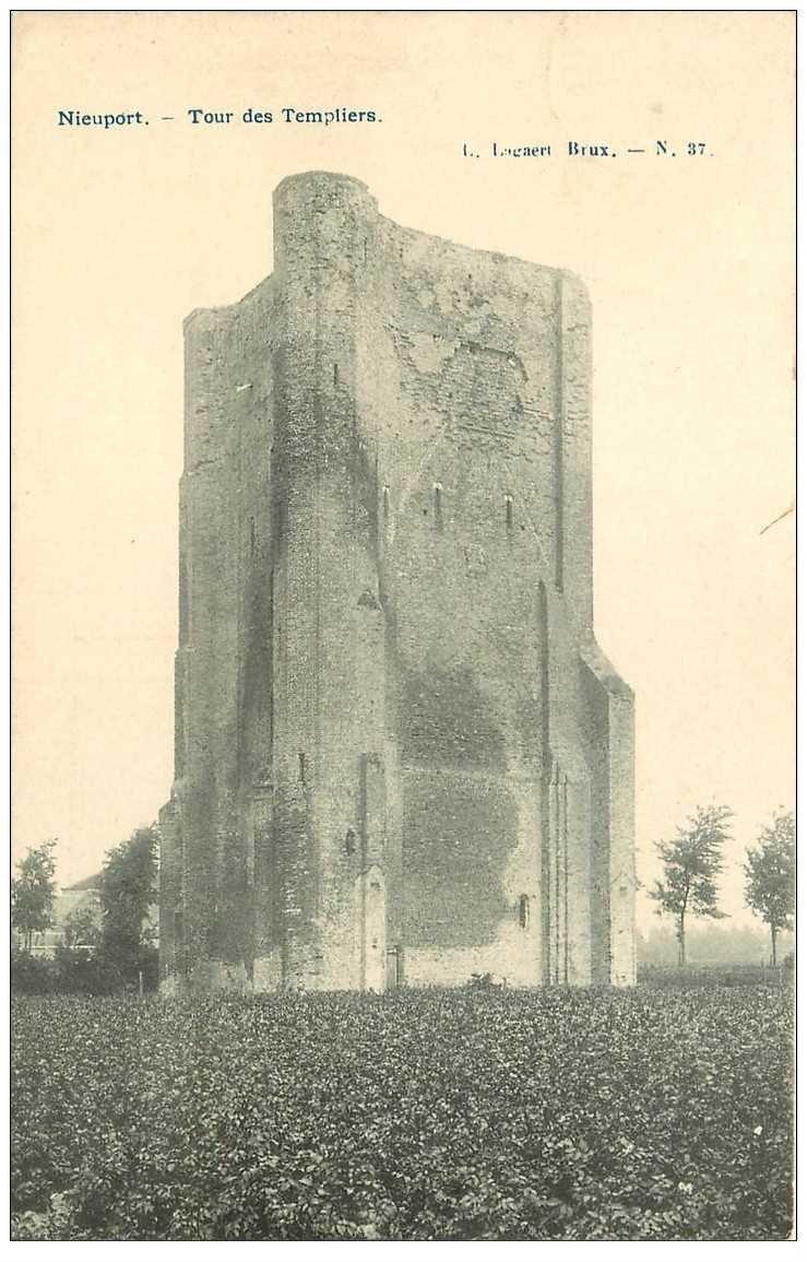 carte postale ancienne NIEUPORT. Tour des Templiers 1908