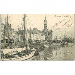carte postale ancienne OSTENDE OOSTENDE. Bassin II avec Morutier 1903