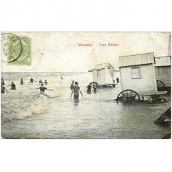 carte postale ancienne OSTENDE OOSTENDE. Les Bains 1906 Cabines à roues