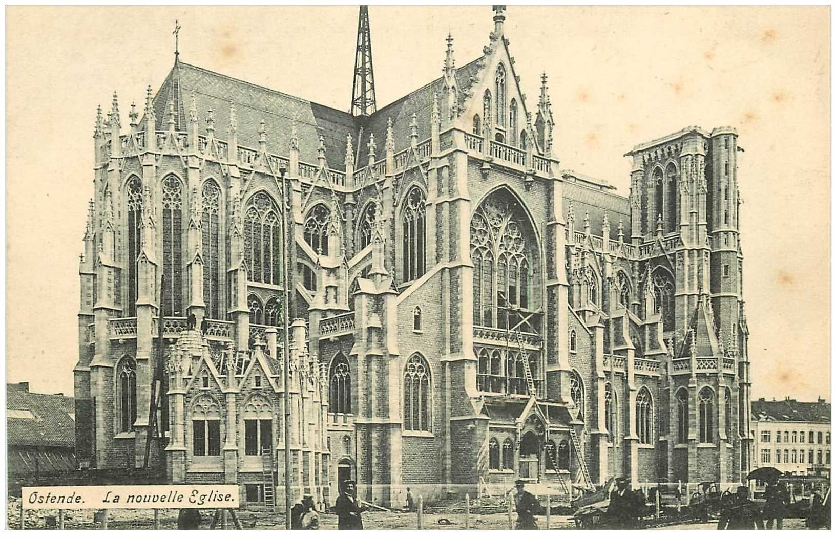 carte postale ancienne OSTENDE OOSTENDE. Nouvelle Eglise animation