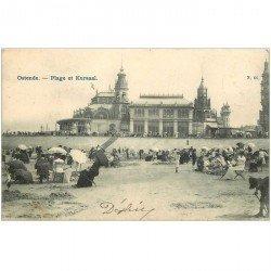 carte postale ancienne OSTENDE OOSTENDE. Plage et Kursaal 1905