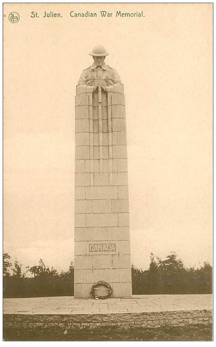 carte postale ancienne SAINT JULIEN. Canadian War Memorial