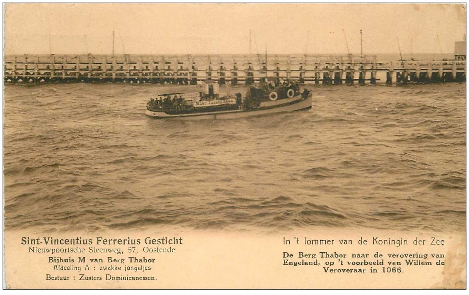 carte postale ancienne SINT-VINCENTIUS FERRERIUS GESTICHT. Oostende 1939
