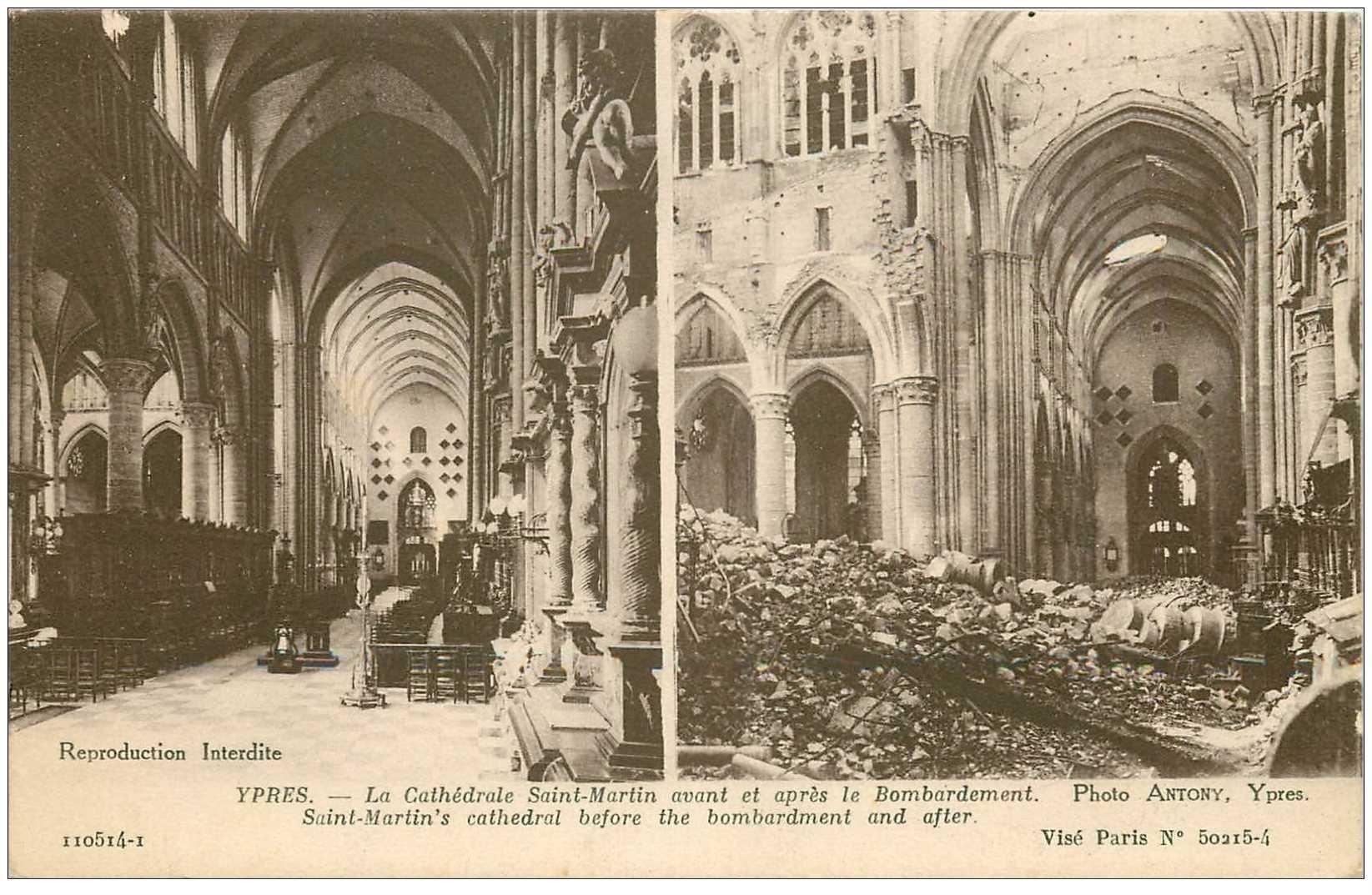 carte postale ancienne YPRES IEPER. Cathédrale Saint Martin avant et après Bombardement