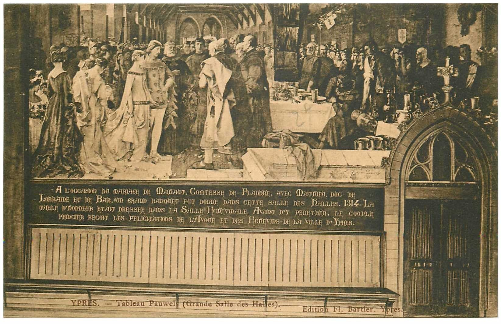 carte postale ancienne YPRES IEPER. Tableau Pauwels Grande Salle des Halles