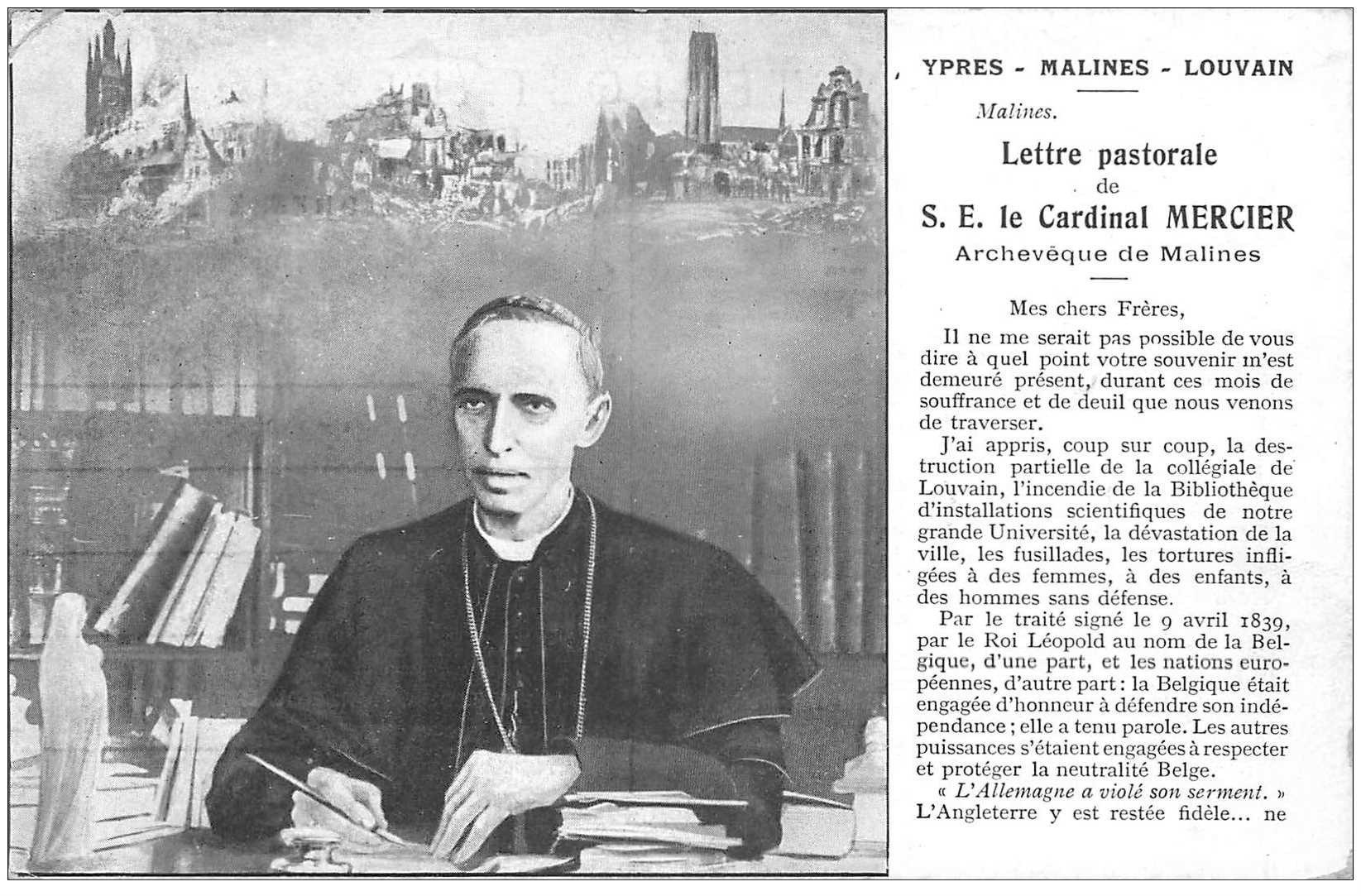 carte postale ancienne YPRES MALINES LOUVAIN. Cardinal Mercier mini pli coin