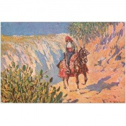 carte postale ancienne BARCELONA. El contrabandisia par Bertuchi