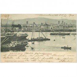 carte postale ancienne BARCELONA. Muelle de la Muralla 1904