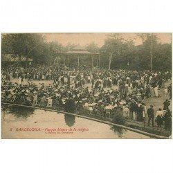 carte postale ancienne BARCELONA. Paeque Kiosco de la mùsica 1921