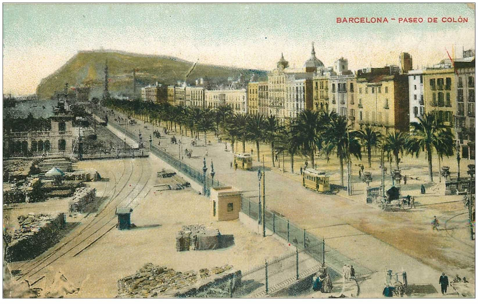 carte postale ancienne BARCELONA. Paseo de Colon