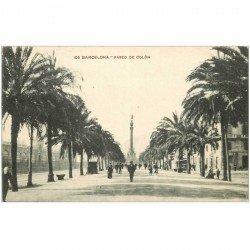carte postale ancienne BARCELONA. Paseo de Colon Colomb 1928