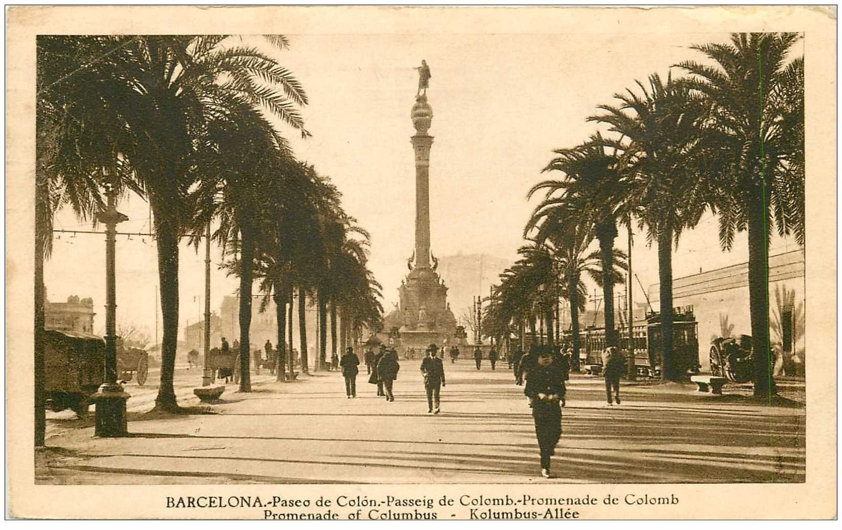 carte postale ancienne BARCELONA. Paseo de Colon Colomb 1934