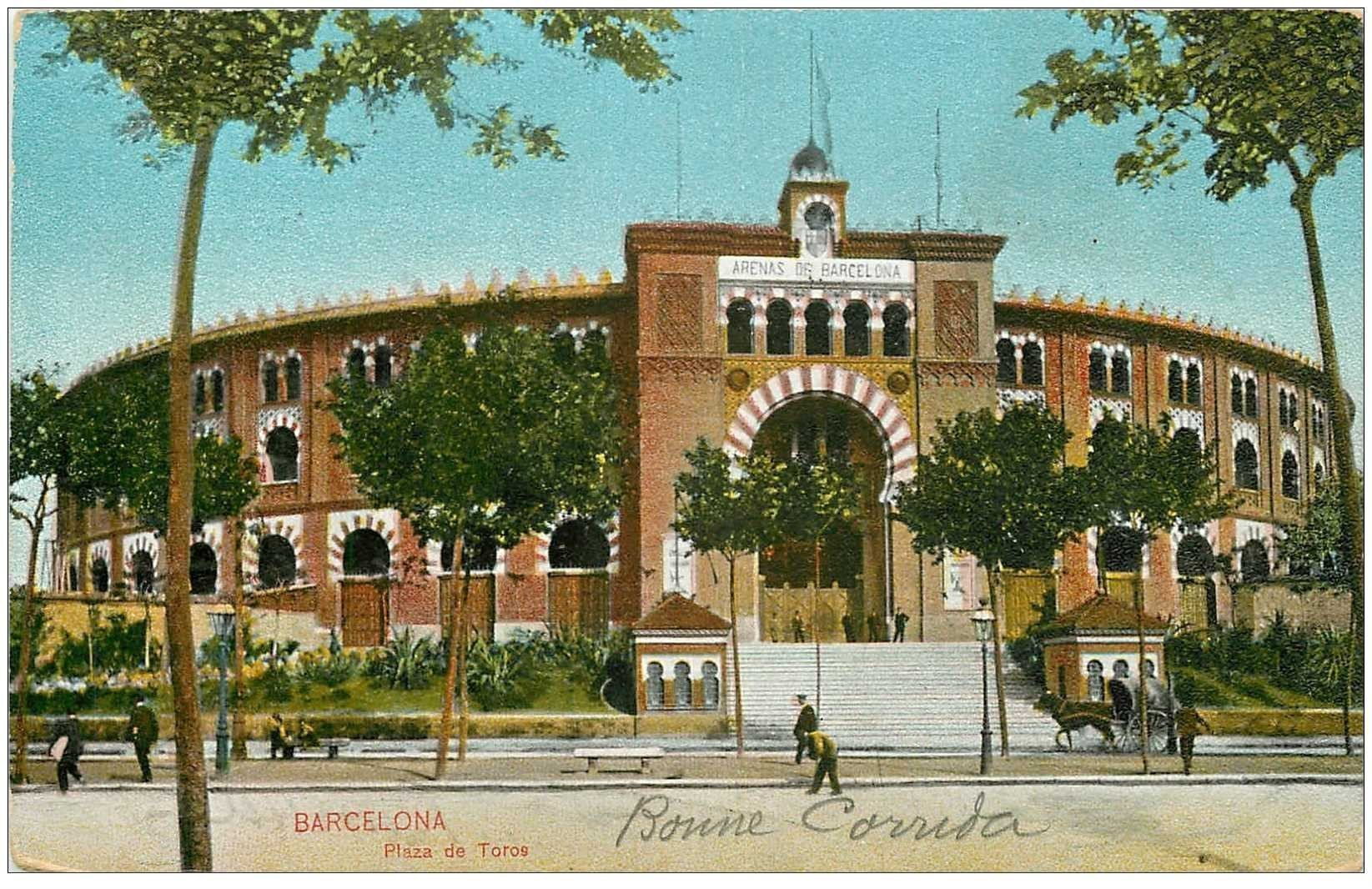 carte postale ancienne BARCELONA. Plaza de Toros 1908