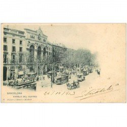 carte postale ancienne BARCELONA. Rambla del Centro 1903 Tramways et attelages