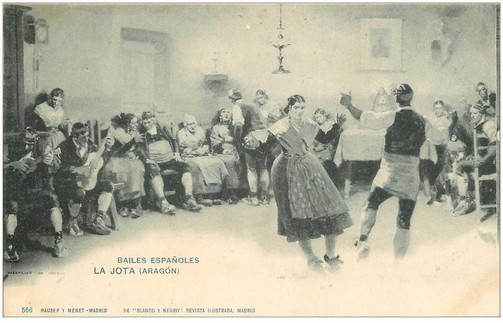 carte postale ancienne ESPAGNE. Aragon. Bailes Espanoles. La Jota. Danse et Danseurs espagnoles Musiciens vers 1900