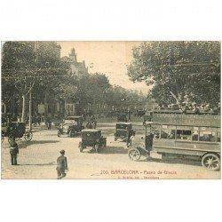 carte postale ancienne ESPAGNE. Barcelona. Paseo de GHracia. Compagnie des Autocars 1958