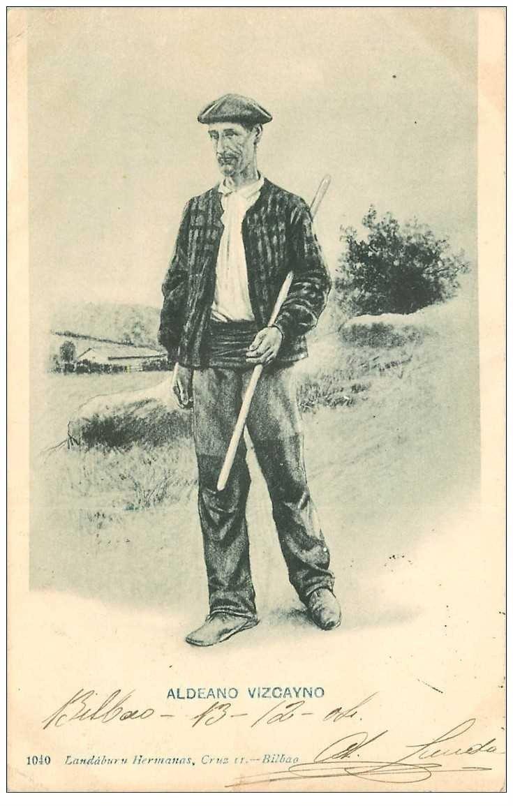 carte postale ancienne ESPAGNE. Bilbao. Aldena Vizcayno 1904. Villageois et Ptre