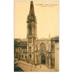 carte postale ancienne Espagne. BILBAO. Iglesia de Santiago