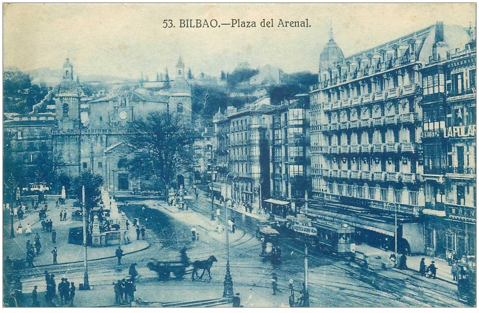 carte postale ancienne Espagne. BILBAO. Plaza del Arenal
