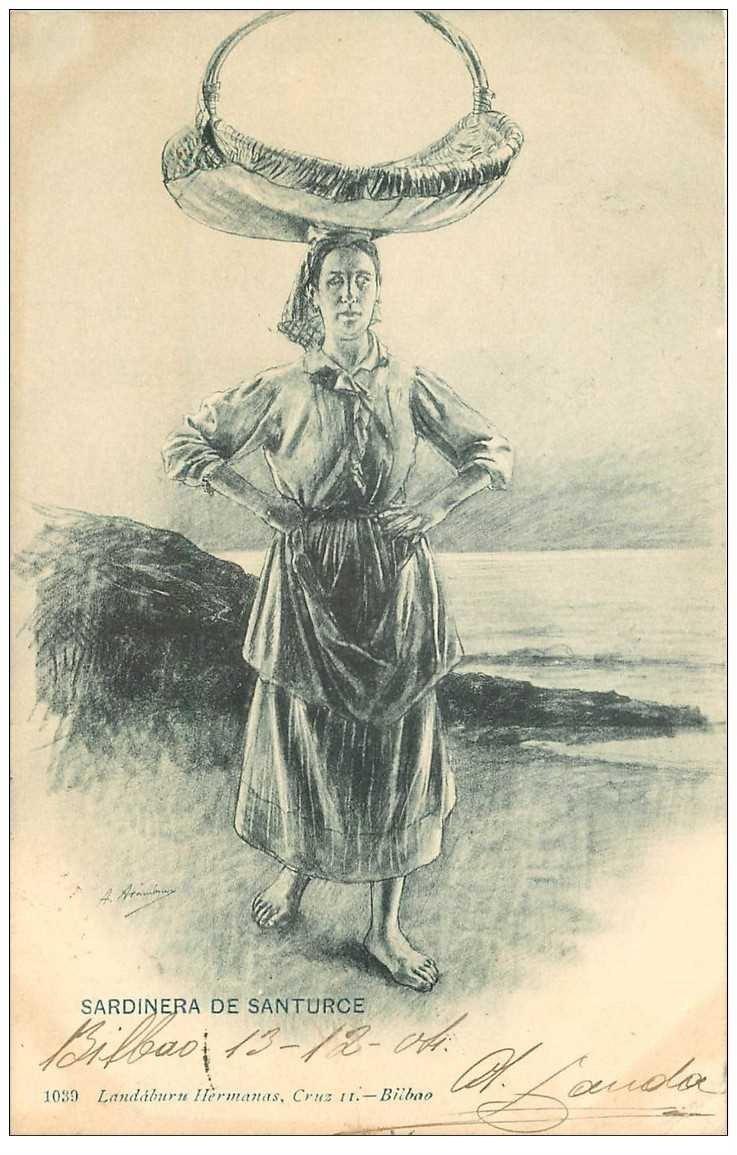 carte postale ancienne ESPAGNE. Bilbao. Sardinera de Santurce 1904. Porteuse et Vendeuse de Sardines